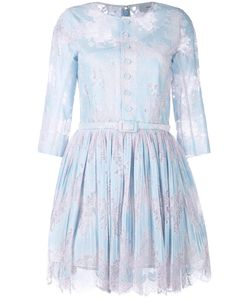 Carven | Lace Trim Pleated Dress 38 Silk/Cotton/Nylon/Silk