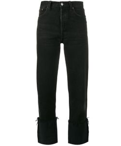 Re/Done | High Rise Straight Leg Jeans With Turned Up Cuffs