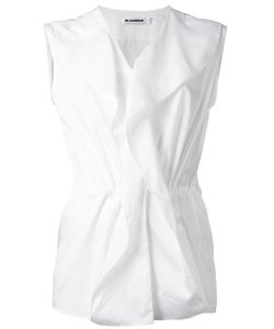 Jil Sander | Sleeveless Ruffle Blouse 38 Cotton