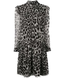 Burberry | Ruffle Detail Animal Print Dress Polyester/Mulberry