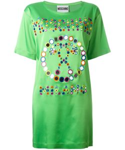 Moschino | Mirror Embroide Logo T-Shirt Dress 36 Acetate/Rayon/Other