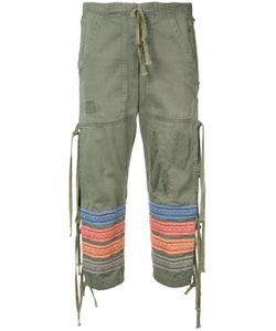 GREG LAUREN | Embroidered Stripes Cropped Trousers