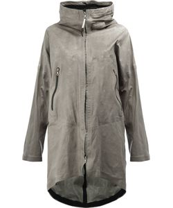 Isaac Sellam Experience | Crease-Effect Hooded Coat Size 40 Calf