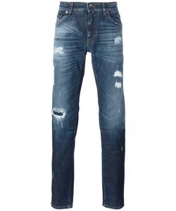 Dolce & Gabbana | Distressed Jeans 46 Cotton/Spandex/Elastane/Zamak/Calf Leather