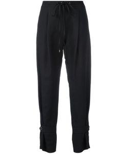 Jil Sander Navy | Drawstring Cropped Pants 36 Linen/Flax/Polyamide/Cupro/Rayon