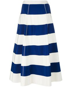 ROSSELLA JARDINI | Striped Full Skirt Size 44 Cotton/Viscose