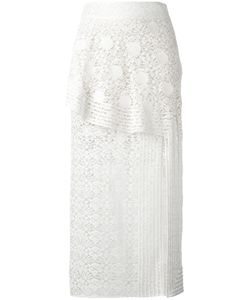 Stella Mccartney | Ruffled Lace Midi Skirt 38 Cotton/Polyester/Silk