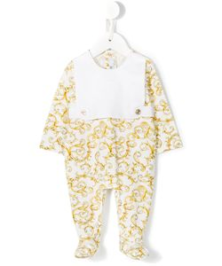 Young Versace | Baroque Print Bib Pyjamas Infant 6 Mth