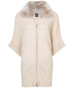 Sofia Cashmere   Fox Fur Trim Zip Cardigan Women