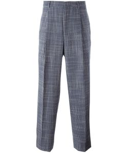 E. Tautz | Plaid Pleated Tape Trousers 30 Wool/Silk/Viscose