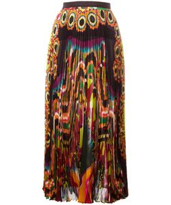 Roberto Cavalli | Abstract Print Pleated Skirt 42 Silk
