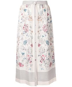 VILSHENKO | Printed Button Skirt 10 Silk