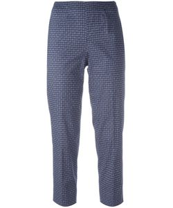 Piazza Sempione | Woven Print Cropped Trousers 44 Cotton/Spandex/Elastane