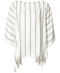 Brunello Cucinelli | Frayed Striped Tunic Small Silk