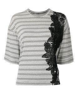 Antonio Marras | Lace Detail Striped T-Shirt Womens Size 42 Viscose/Polyester/Spandex/Elastane/Polyamide