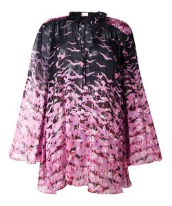 GIAMBA | Sheer Flamingo Print Blouse 42 Silk/Polyester
