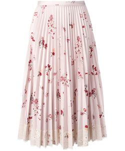 Red Valentino | Print Pleated Skirt With Lace Fringe