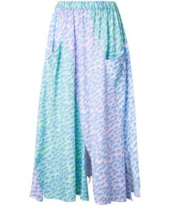 Julien David | Print Pleated Skirt Xs Cotton/Linen/Flax