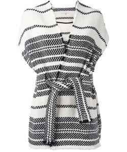 Iro | Striped Shortsleeved Wrap Jacket 34 Cotton/Acrylic/Polyester