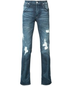 Hudson | Ripped Slim-Fit Jeans 34 Cotton/Polyester/Spandex/Elastane