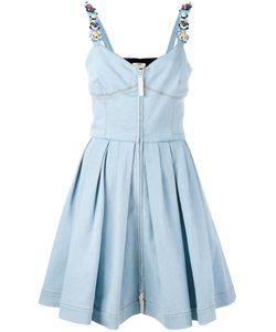 Fendi | Flower Strappy Denim Dress 42 Cotton/Plastic/Polyester/Brass