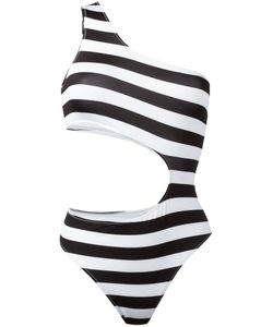 Marios | Striped One-Shoulder Swimsuit Size Large