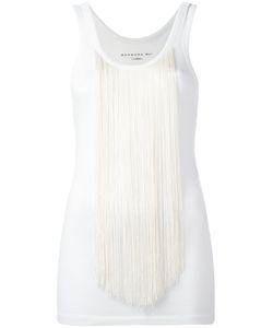 Barbara Bui | Creme Tasseled Tank Top Large Cotton/Spandex/Elastane/Rayon