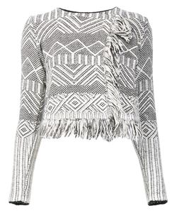 LEO & SAGE | Jacquard Fringed Cropped Jacket
