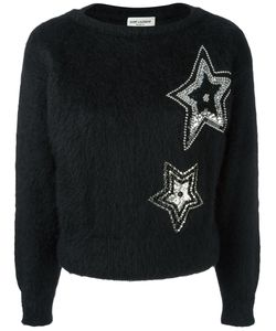 Saint Laurent | Star Embroidered Textured Sweater
