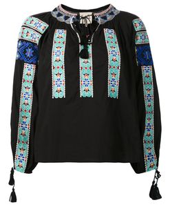 Sea | Embroidered Peasant Top