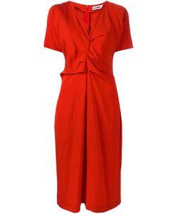 Jil Sander | Драпированное Платье С Короткими Рукавами