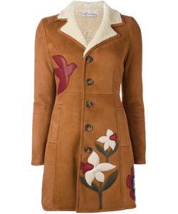 Red Valentino | Пальто Из Овчины С Цветочной Аппликацией