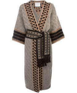 MAME | Пальто С Узором И Поясом На Талии