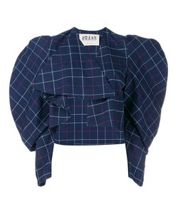 A.W.A.K.E | Checked Balloon Sleeve Wrap Top