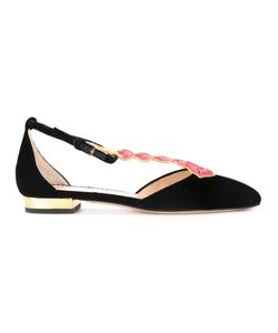 Charlotte Olympia | Lip Embroidered T-Bar Flats