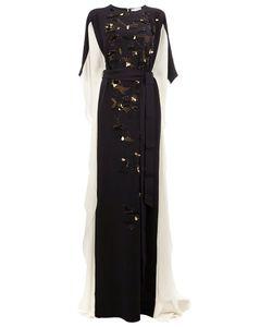 Oscar de la Renta | Embroidered Bat-Wing Sleeve Gown