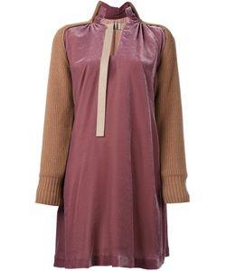 Sacai | Бархатное Платье С Контрастными Вставками