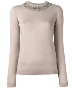 Ralph Lauren Purple | Embellished Neck Knit Blouse