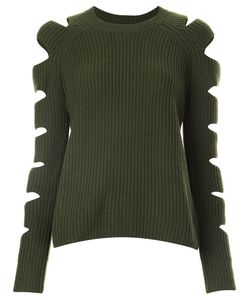 ZOE JORDAN | Cut-Out Sleeve Ribbed Jumper