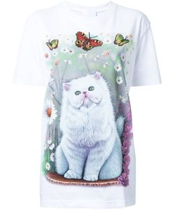 Wall | Cat And Butterfly Print T-Shirt