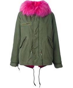 As65   Contrast Furred Collar Parka Coat