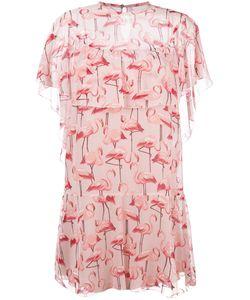 Red Valentino | Flamingo Print Dress 44 Polyester/Silk