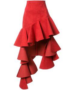 JACQUEMUS | Asymmetric Ruffled Trim Skirt 40 Polyester/Polyurethane