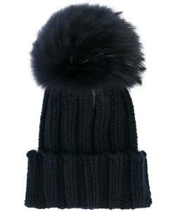 Inverni | Fox Fur Pom Pom Beanie Cashmere/Racoon Fur