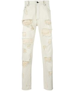 PALM ANGELS | Ripped Regular Jeans 33 Cotton/Polyester