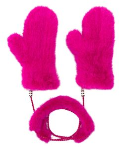Liska | Fur Mittens With Chain Link