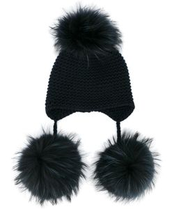 Inverni | -Fur Pom Pom Beanie Cashmere/Racoon Fur