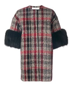 AVA ADORE | Three-Quarters Sleeves Tartan Coat Women Acrylic/Polyamide/Polyester/Racoon