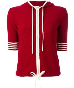 Red Valentino | Shortsleeved Drawstring Knitted Hoodie