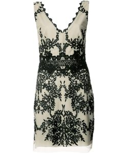 Nicole Miller | Embroide V-Neck Dress 4 Polyester